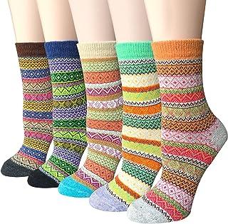 Calcetines De Algod¨®n Lana calcetines t¨¦rmicos varios dise?os colores invierno mujer--Ideales para invierno (5 Pares)