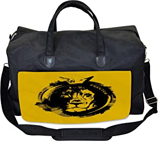 Lunarable Lion Gym Bag, Grunge Style Freedom Quote, Large Weekender Carry-on
