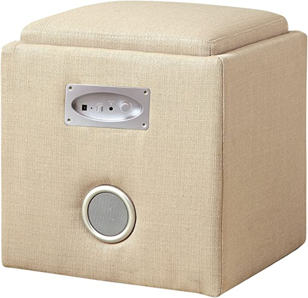 Furniture Of America Uptempo Padded Flax Storage Ottoman With Bluetooth Speakers Ivory