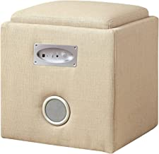 Furniture of America Uptempo Padded Flax Storage Ottoman with Bluetooth Speakers, Ivory