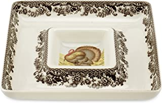 Spode Woodland Turkey Square Chip and Dip Serving Set