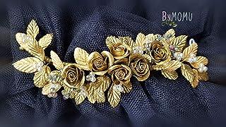 Copricapo da sposa Ornamento fiori ROSE D'Oro per capelli-Fiori Porcellana porcellana porcellana fredda accessori per cape...