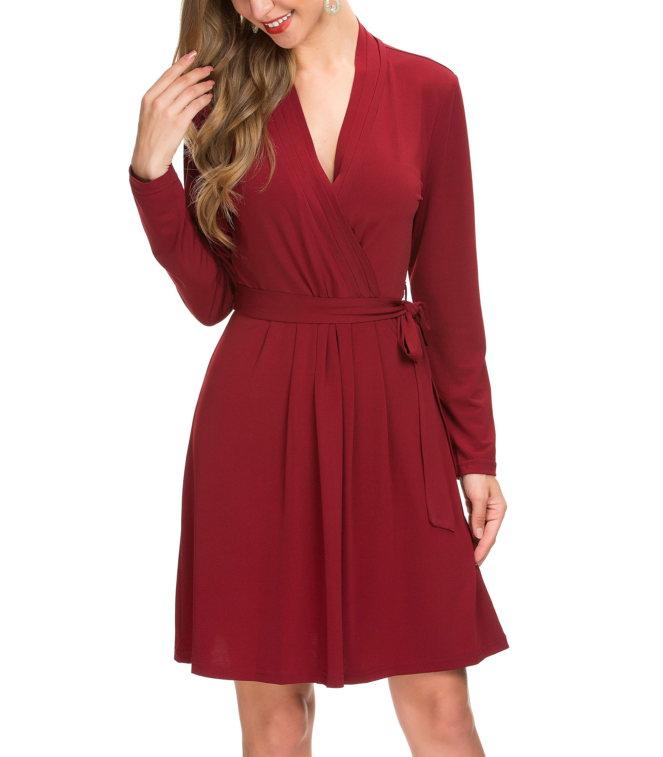 Available at Amazon: Le Vonfort Women's Casual Dress Crossover V Neck Swing A Line Work Belted Faux Wrap Dress