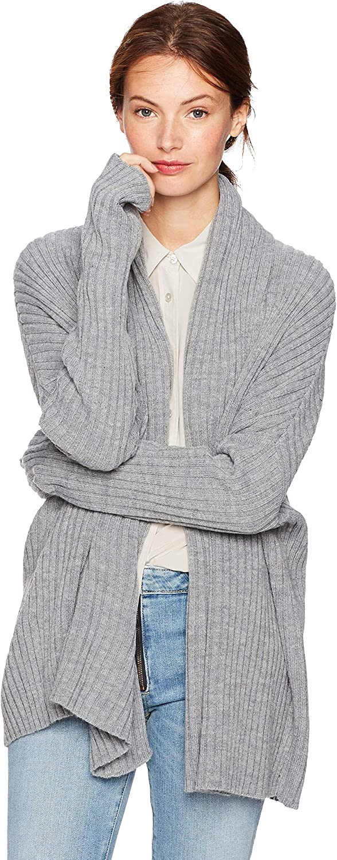 Cable Stitch Women's Long-Sleeve Rib-Knit Cardigan with Thumbhole