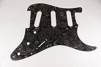 Matte Black Diamond Plate Anodized Aluminum Paisley SSS Strat Pickguard- Fits Fender Stratocaster
