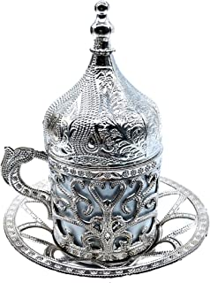 Turkish Greek Arabic Coffee & Espresso Cup with Inner Porcelain, Metal Holder, Saucer and Lid, 4 Pieces & Hand Made (silver)