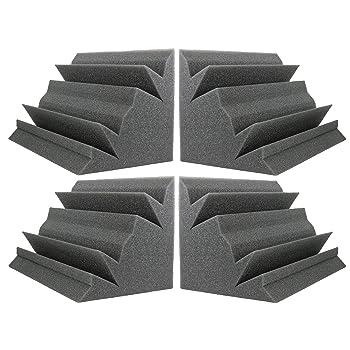 """NEW LEVEL Charcoal Acoustic Foam Bass Trap Studio Corner Wall 12"""" X 7"""" X 7"""" (4 PACK)"""