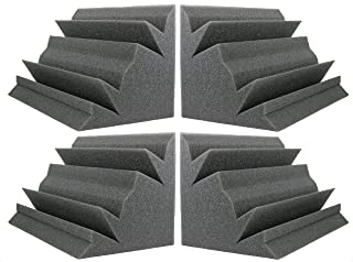 "NEW LEVEL Charcoal Acoustic Foam Bass Trap Studio Corner Wall 12"" X 7"" X 7"" (4 PACK)"