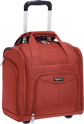 Amazon Basics Underseat Carry On Rolling Travel Luggage Bag, 14 Inches, Red