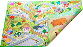 Kids Double Sided Felt Play mat - 2 in 1 City & Farm, Indoor/Outdoor, Machine Washable 59