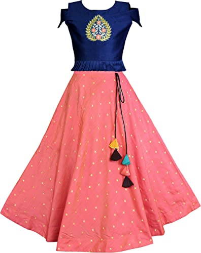 Fashion Dream Girl's Jacquard & Silk Readymade Lehenga Choli