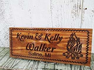 Last Name Sign with Camp Fire, Family Camper Campsite Sign, Custom Carved Wooden Signs, C101