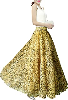 Afibi Womens Blending Chiffon Retro Long Maxi Skirt Vintage Dress