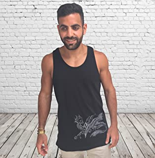Men's Black Tank Top Sleeveless Vest, Size M, Dragon Printed, Training Sports Loose Fit Everyday Wear for Men