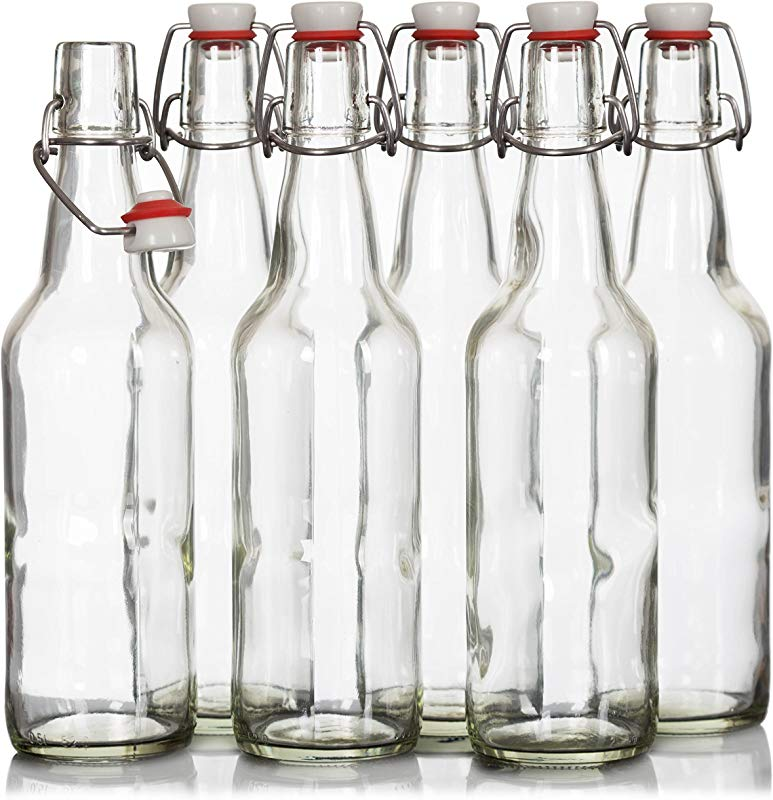 Easy Cap Fliptop Beer Bottles 6 Pack 16 Ounce Grolsch Bottles With Metal Wire Swing Top Plastic Cap For Home Brewing Beer Kombucha Store Juice Water Smoothies Clear Airtight Glass Bottles