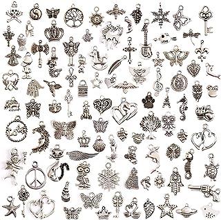 comprar comparacion Juanya 100 unidades DIY accesorios mezclados de plata tibetana estilos colgantes del encanto de la joyería de bricolaje pa...