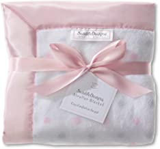 SwaddleDesigns Stroller Blanket, Cozy Microfleece, Pastel Pink and Sterling Dots with Satin Trim