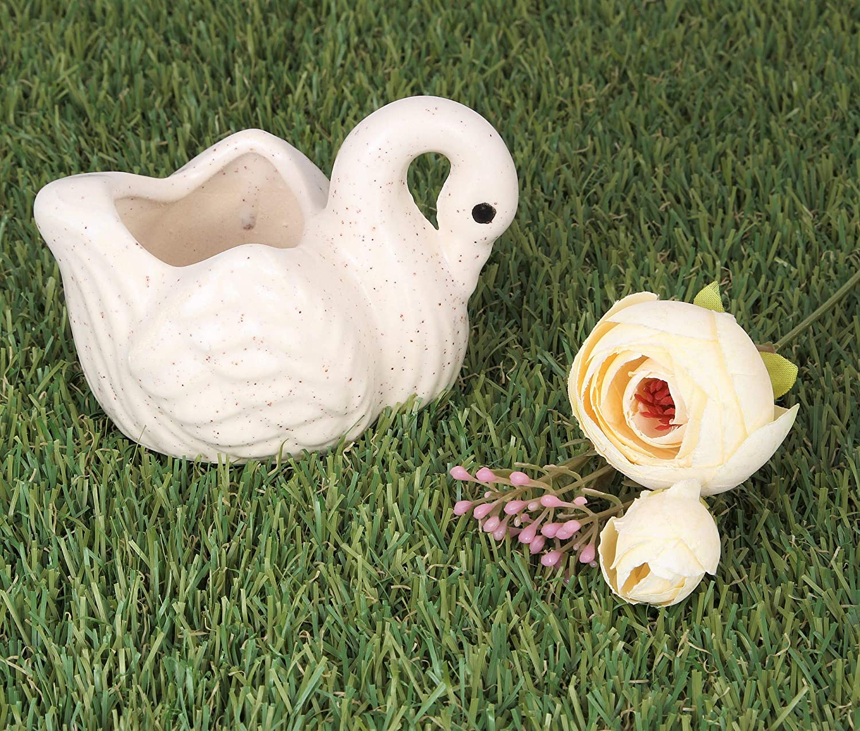 Crocon Ceramic White Swan Design Miniature Pots for Home Office Decor Window Bookshelf Flower Plants Garden Bonsai Outdoor & Indoor Decorative Collectible