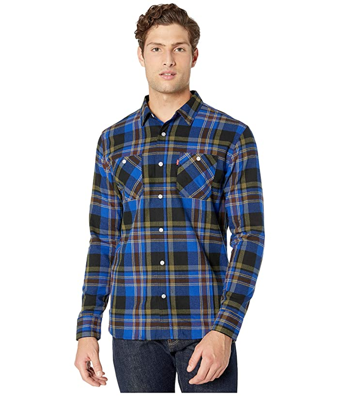 Levis  Kine Herringbone Flannel Shirt (Caviar) Mens Clothing