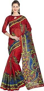 Women's Art Silk Peacock Printed Saree Indian Sari Dress (5744_Red)