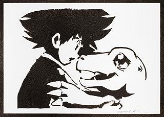 Poster Digimon Taichi Yagami e Agumon Handmade Graffiti Street Art - Artwork