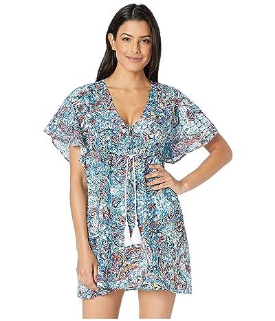 LAUREN Ralph Lauren Mystic Paisley Flutter Sleeve Dress (Blue) Women