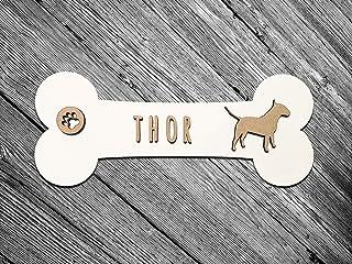 KARIVOO placa de madera con forma de hueso personalizada con nombre y raza para perros