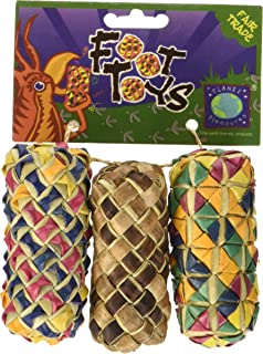 Planet Pleasures Woven Cylinder Foot Toy (3 Pack), Small