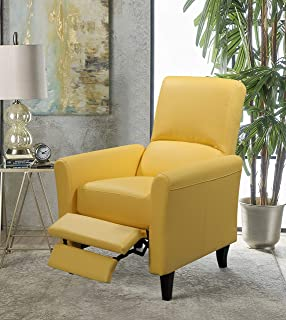 mustard yellow leather recliner