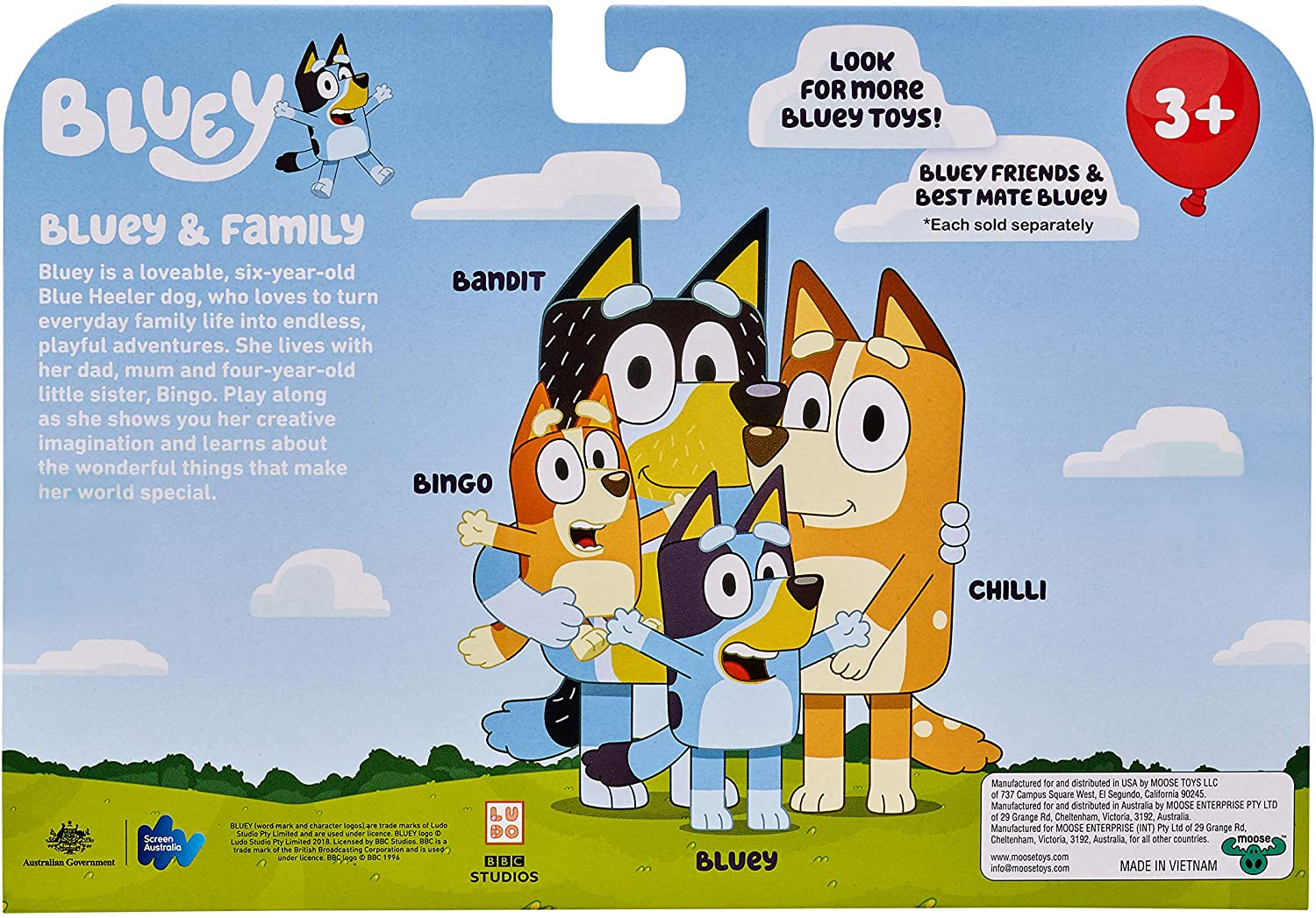 Bluey and Friends 4 Pack of 2.5-3