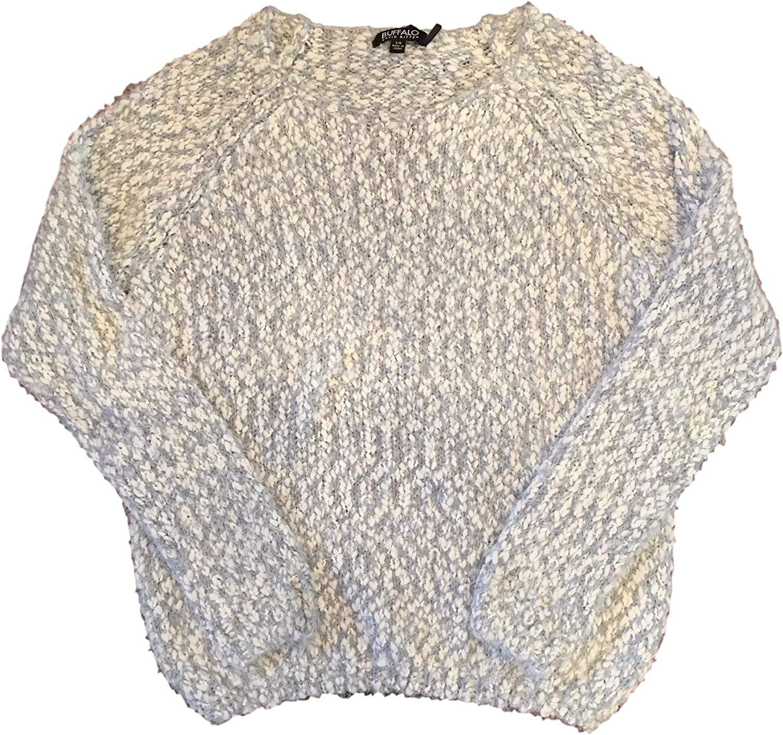 Buffalo David Bitton Women's Eyelash Sweater Cardigan (Large, Grey/ White)