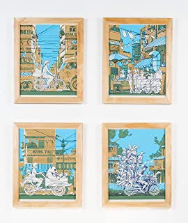 Nakatomi - Vietnam on Wheels - Set of 4 Silk Screen Art Prints of Bicycle, Scooter, Motorcycle and Tricycle. Blue Wall Art Poster for Apartment, Living Room, Mantle, Shelf, Office or Nursery Decor