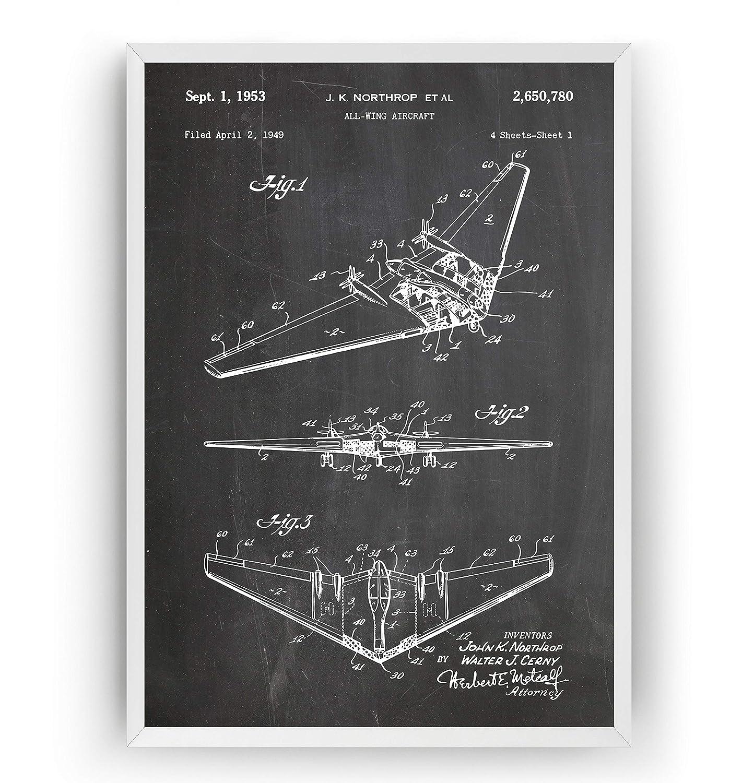 Northrop All Wing Aircraft Nashville-Davidson Mall San Antonio Mall 1953 Patent Print Aviatio Air Force -