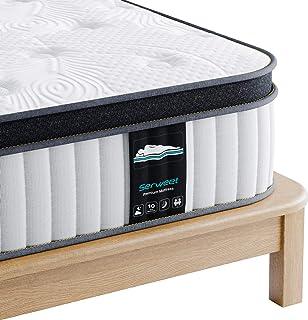 Serweet マットレス セミダブル ポケットコイル ベッドマットレス高反発 圧力緩和メモリーフォーム 極厚25㎝セミダブルベッド 防臭 高密度コイル522個 快適睡眠 体圧分散通気性抜群 底付き感無し 高耐久 寝心地良く