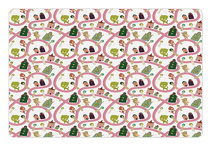Lunarable Children's City Map Pet Mat for Food and Water, Cats and Birds on The Road with Cartoon Houses Fantasy Town Pattern, Rectangle Non-Slip Rubber Mat for Dogs and Cats, Multicolor