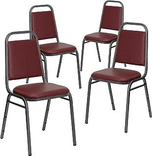 Flash Furniture 4 Pk. HERCULES Series Trapezoidal Back Stacking Banquet Chair in Burgundy Vinyl - Silver Vein Frame