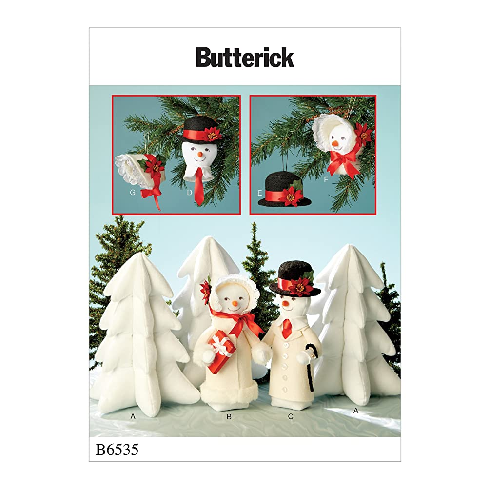 Butterick B6535OSZ Snowman Christmas Decoration and Ornaments Sewing Pattern, One Size Only