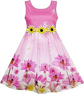 Girls Dress Sunflower Bubble Lily Flower Garden Print