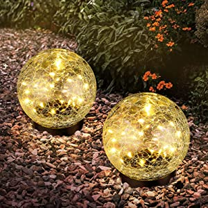 2-Pack Garden Solar Lights Decorative, Cracked Glass Solar Globe Lights Outdoor 30 LEDs, Waterproof Ball Lights for Yard Patio Lawn Pathway Walkway Outside Decor, 4.72