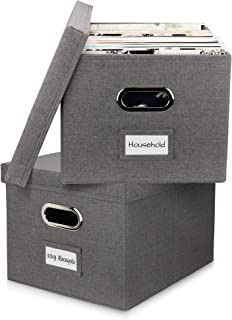 Beautiful File Organizer Box Set of 2 - Collapsible Linen Filing Boxes for Easy File Folder Storage