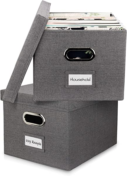 Beautiful File Organizer Box Set Of 2 Collapsible Linen Filing Boxes For Easy File Folder Storage