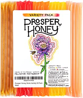 Prosper Flavored Honey Sticks, 5 Flavored Sampler Pack, Made with Pure American Honey and Flavored with Essential Oils (50...