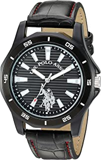 U.S. Polo Assn. Women's Stainless Steel Analog-Quartz Watch with Patent Leather Strap, Black, 22 (Model: USC50459)