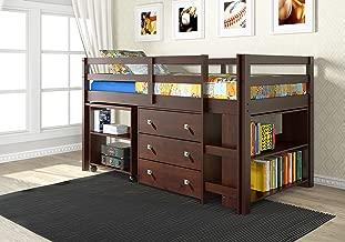 DONCO Kids Low Study Loft Bed, Dark Cappuccino