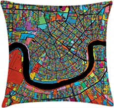 Ambesonne New Orleans Throw Pillow Cushion Cover, Colorful Map of City with Mississippi River Districts and Highways New Orleans, Decorative Square Accent Pillow Case, 16