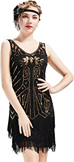 BABEYOND Women's Flapper Dresses 1920s V Neck Beaded Fringed Great Gatsby Dress (Gold Black, L)