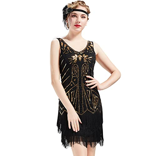 9b317b46f1 BABEYOND 1920s Flapper Dress Fringed Gatsby Dress V Neck for Women