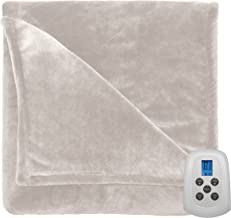 Serta 856580 Heated Electric Warming Silky Plush Blanket Throw with programmable Digital Controller, Twin, Ivory