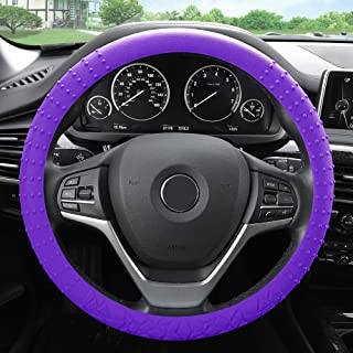 FH Group FH3002PURPLE Purple Steering Wheel Cover (Silicone W. Nibs & Pattern Massaging grip Wheel Cover Color-Fit Most Ca...