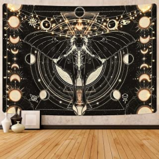 Moon Phase Tapestry Vintage Butterfly Tapestry Psychedelic Moth Tapestry Black Moon and Stars Tapestries Aesthetic Wall Ar...